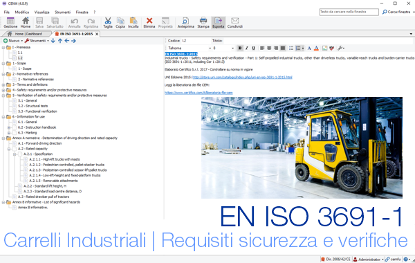 EN ISO 3691-1:2015 Sicurezza Carrelli Industriali | CEM